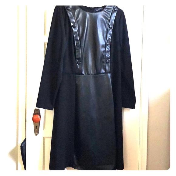 674f3e6e9ca Eloquii Black long sleeve dress with faux leather